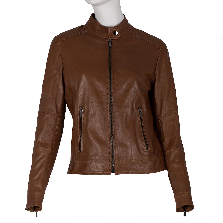 Dámská kožená hnědá bunda se stojáčkem