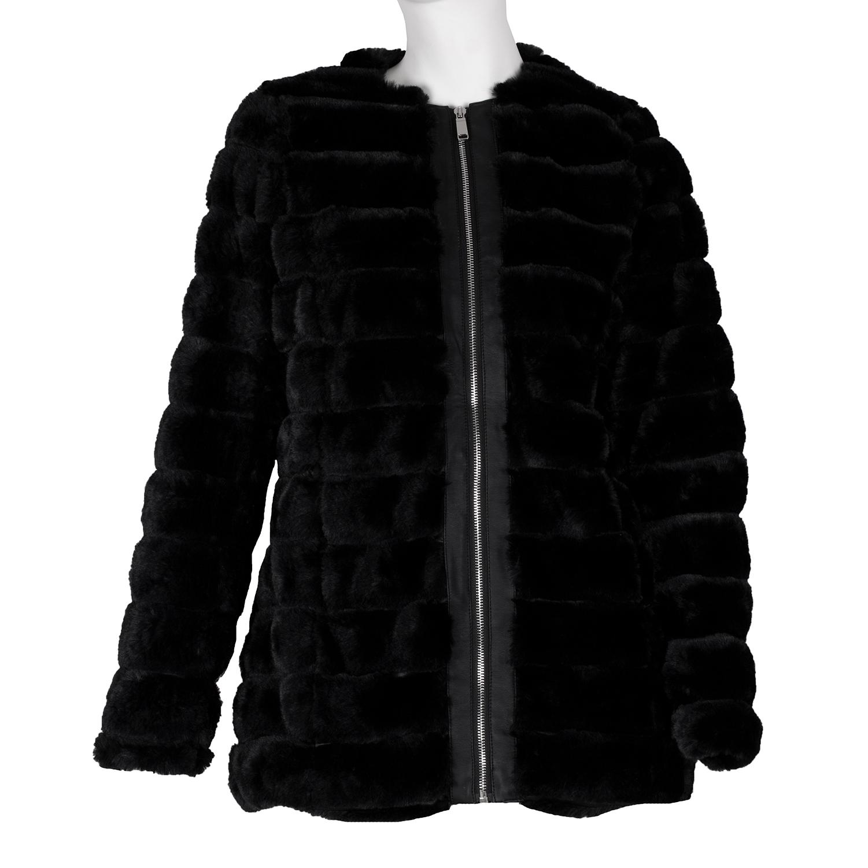 Dámský černý umělý kožíšek na zip