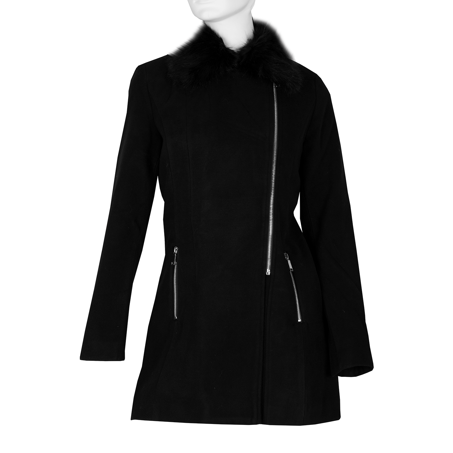 Dámský dlouhý černý kabát