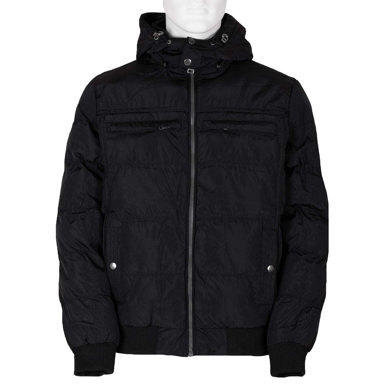 Černá pánská bunda s kapucí