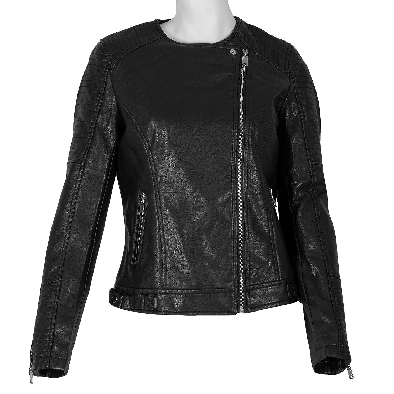 Černá dámská bunda s asymetrickým zipem