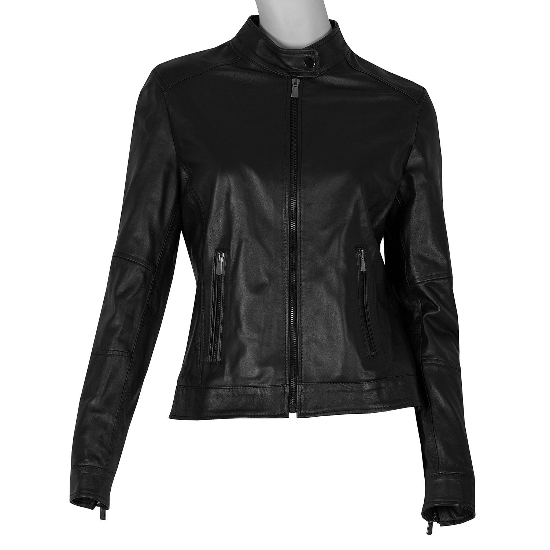 Dámská černá kožená bunda s prošitím