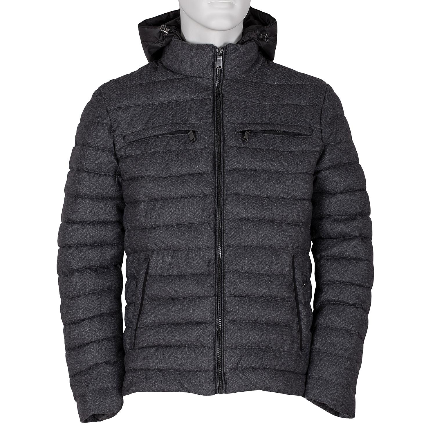 Šedá pánská bunda s kapucí a kapsami