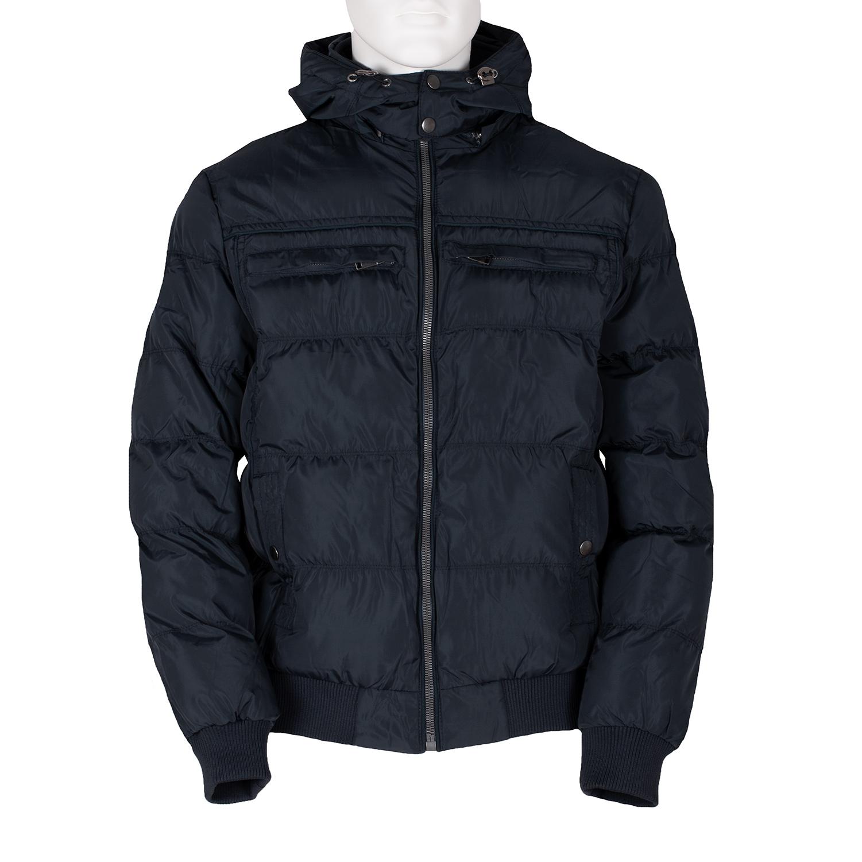 Pánská modrá bunda s kapucí