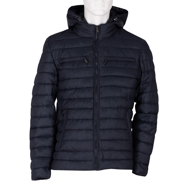 Modrá pánská prošívaná bunda s kapucí