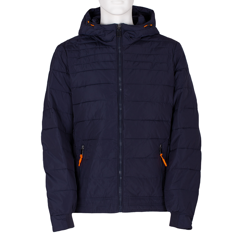 Modrá prošívaná bunda s oranžovými detaily