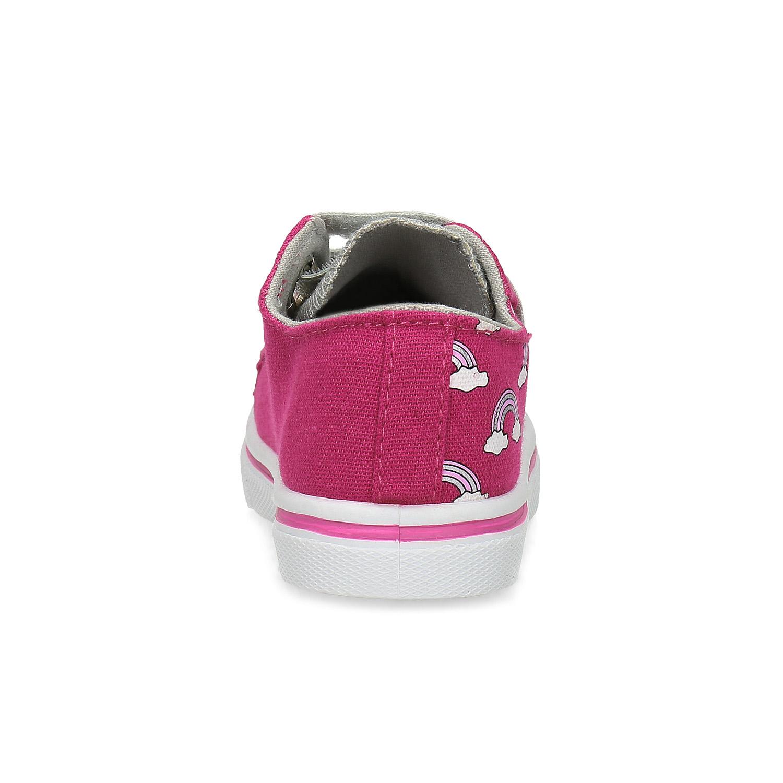 Růžové dětské tenisky s potiskem a kamínky