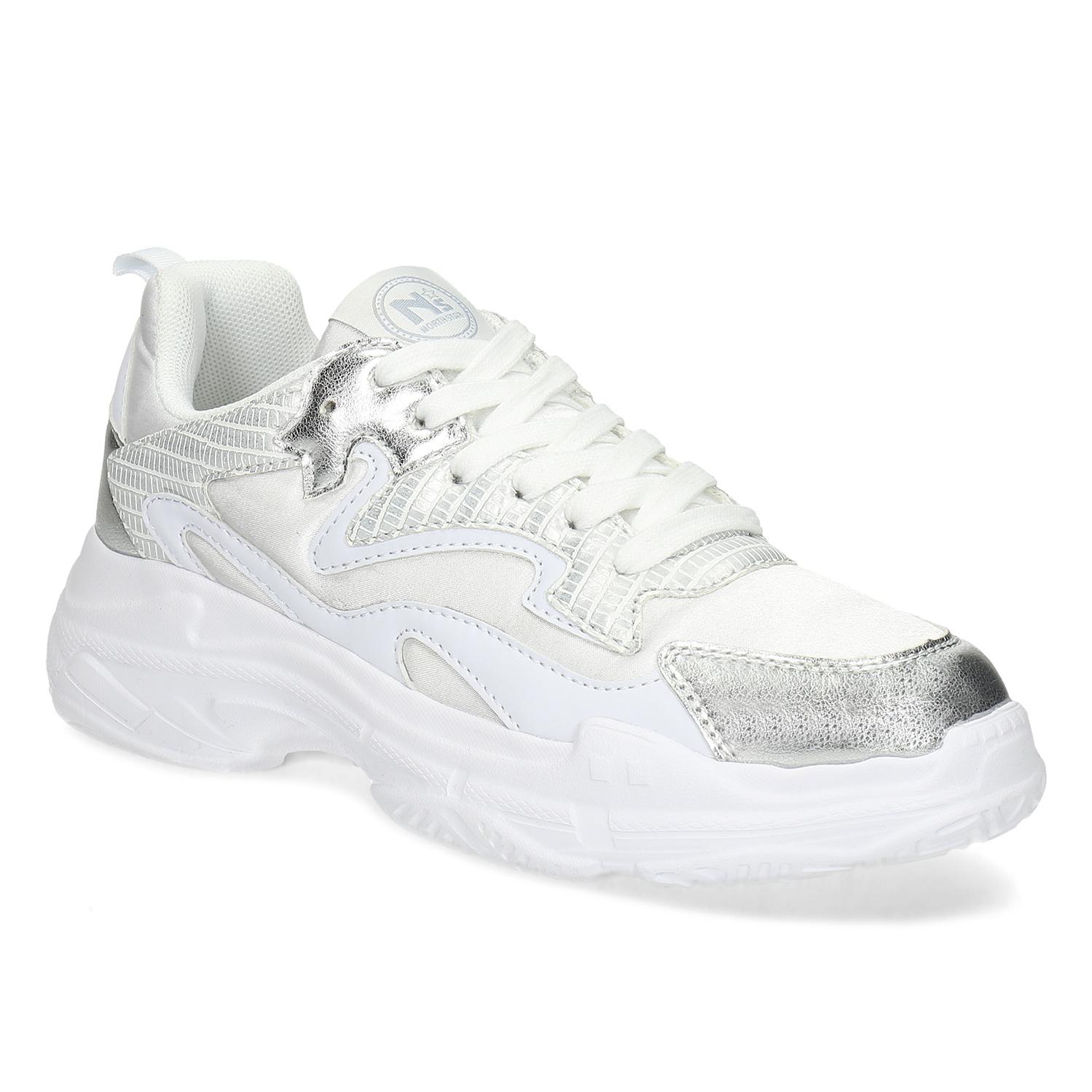 Bílé dámské tenisky se stříbrnými detaily