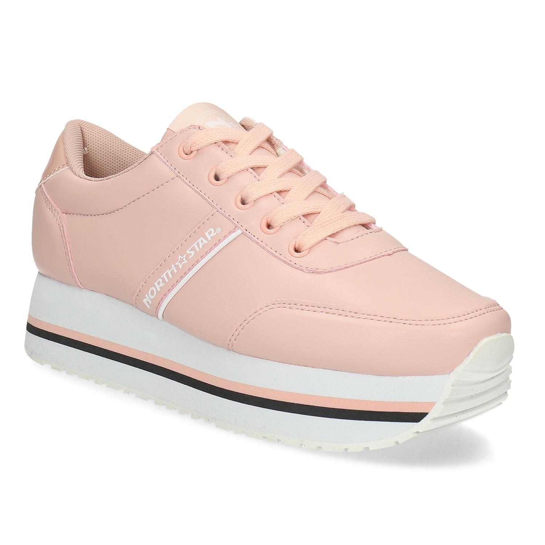Růžové dámské tenisky s výraznou flatformou