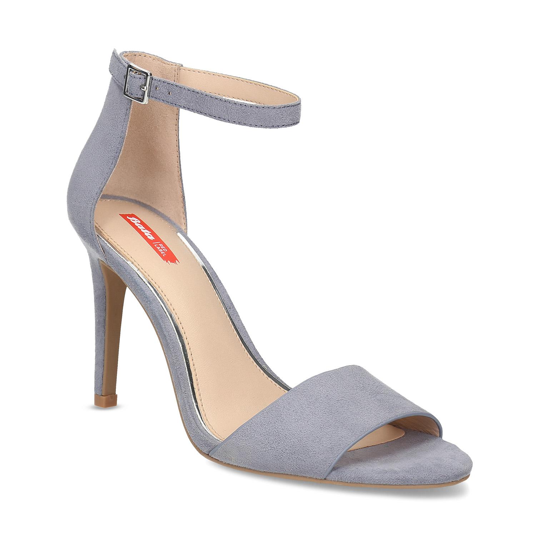 Modré dámske sandále na ihličkovom podpätku