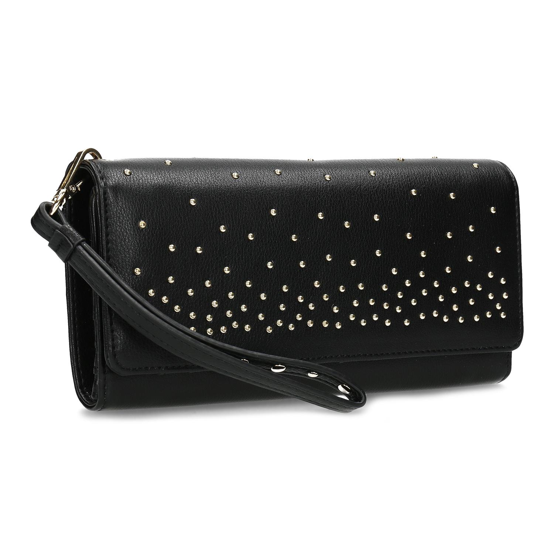 Čierna dámska peňaženka s kovovými cvočkami