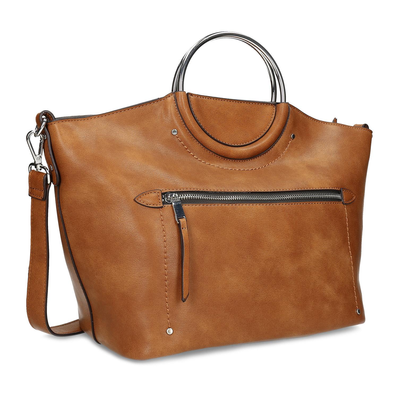 Hnedá dámska kabelka s kovovými rúčkami