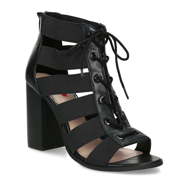 Černé dámské sandály na stabilním podpatku