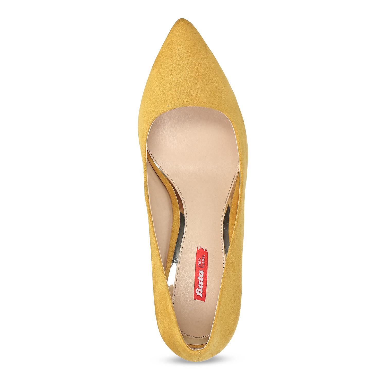 Žluté dámské lodičky na jehlovém podpatku