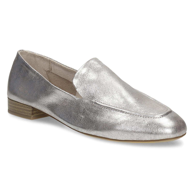 Dámské stříbrné kožené mokasíny