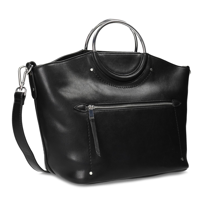 Dámska čierna kabelka s kovovými rúčkami