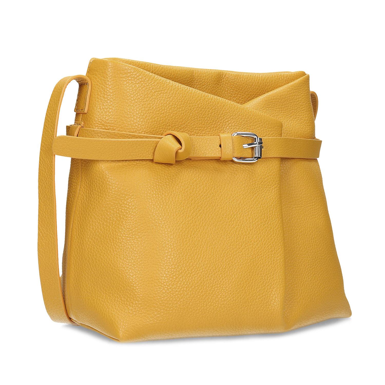 Kožená žltá malá kabelka