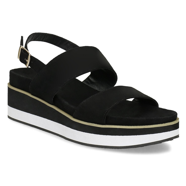 Dámske čierne sandále na pruhovanej podrážke