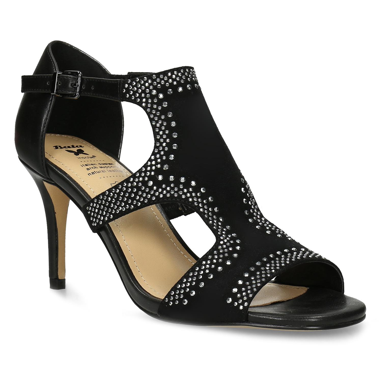 Černé dámské sandály na podpatku s kamínky