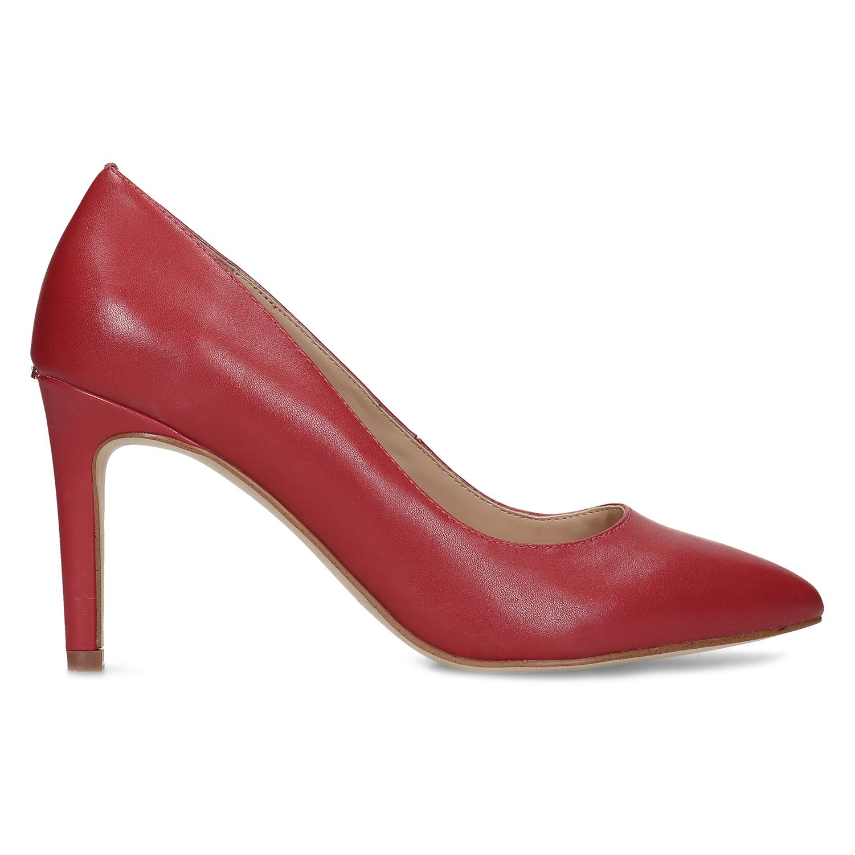 Červené kožené dámské lodičky na jehlovém podpatku