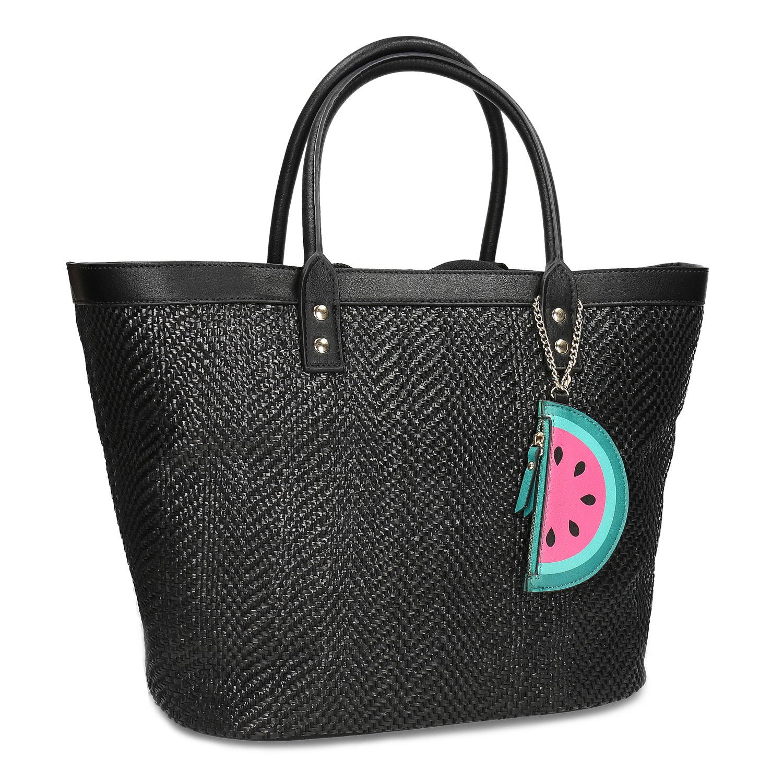 Čierna plážová taška s príveskom