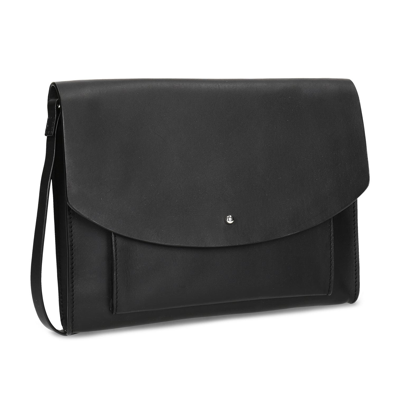 Kožená čierna kabelka na rameno