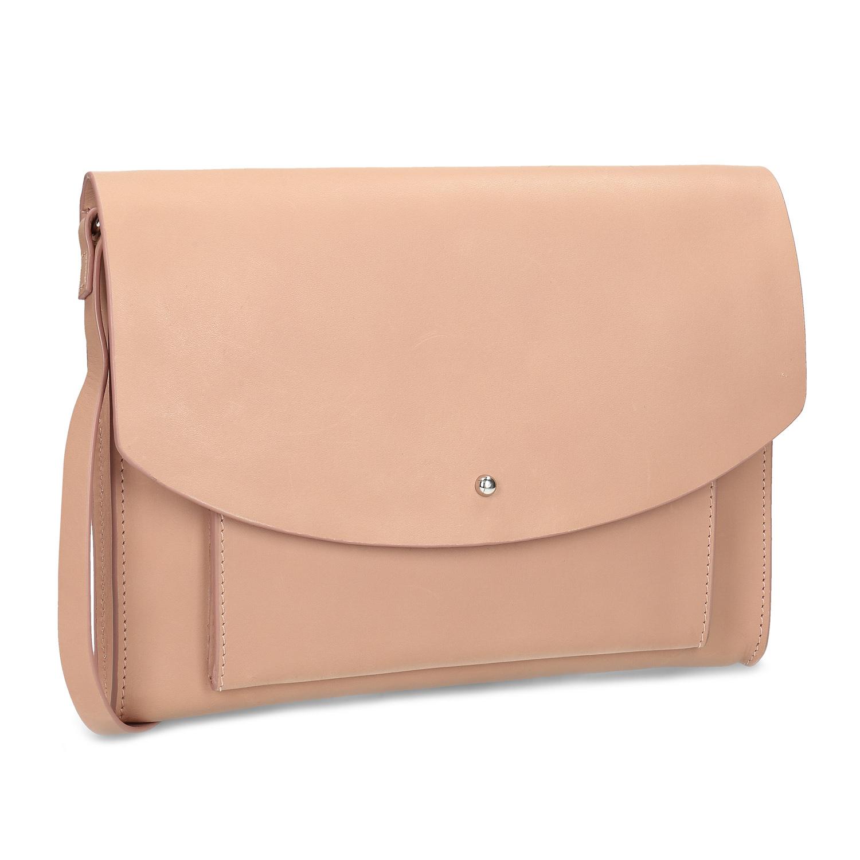 Kožená béžová kabelka na rameno
