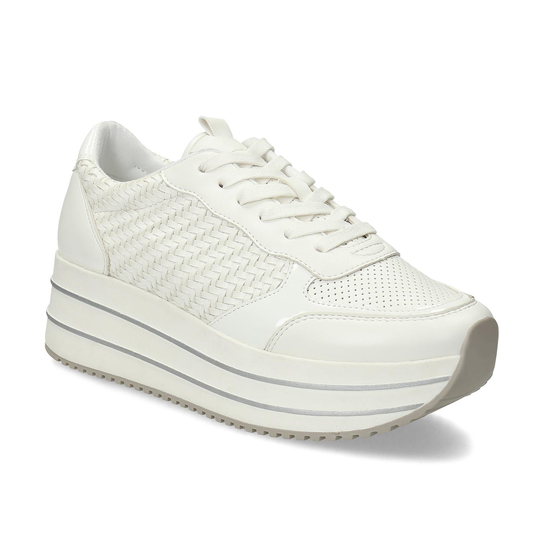 Bílé dámské tenisky na vysoké flatformě