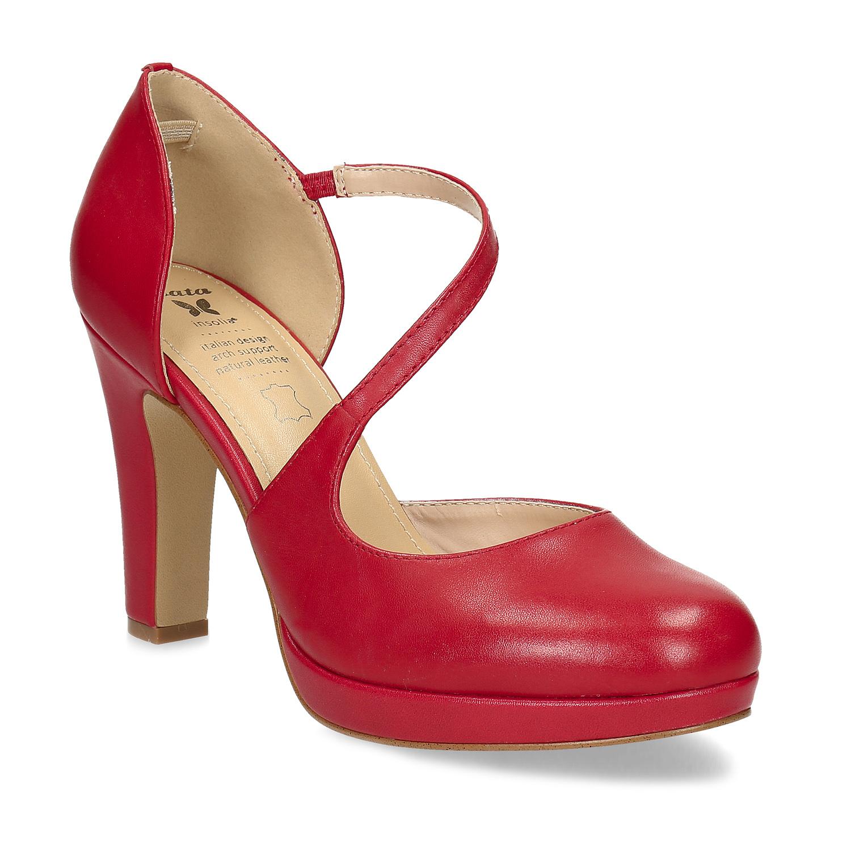 Červené kožené lodičky s asymetrickým páskem