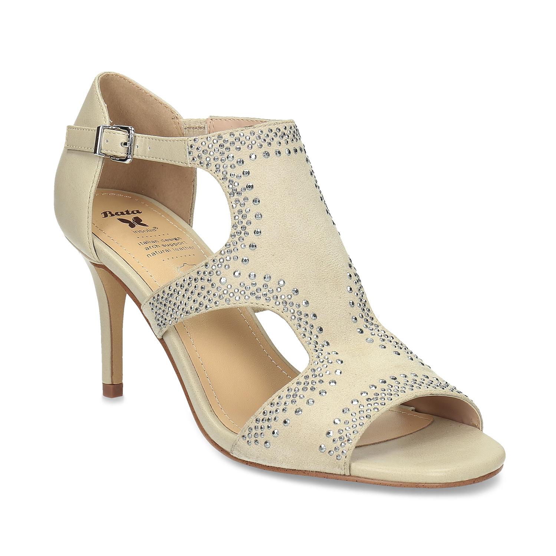 Béžové dámské sandály na podpatku s kamínky