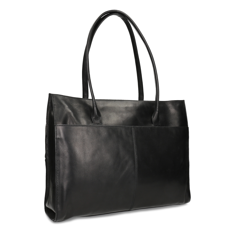 Čierna kožená kabelka na dokumenty