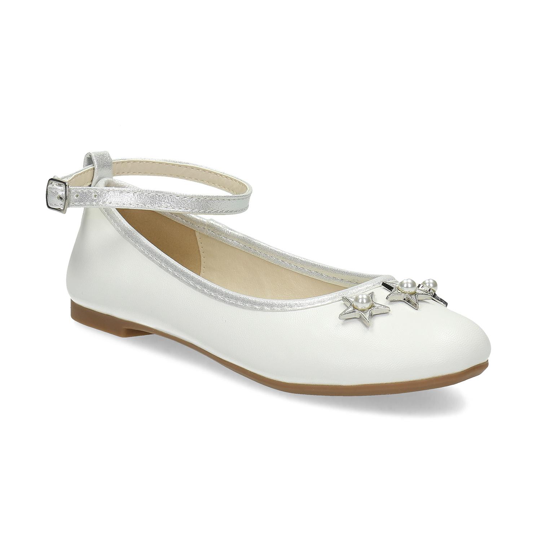 Dívčí bílé baleríny s hvězdičkami