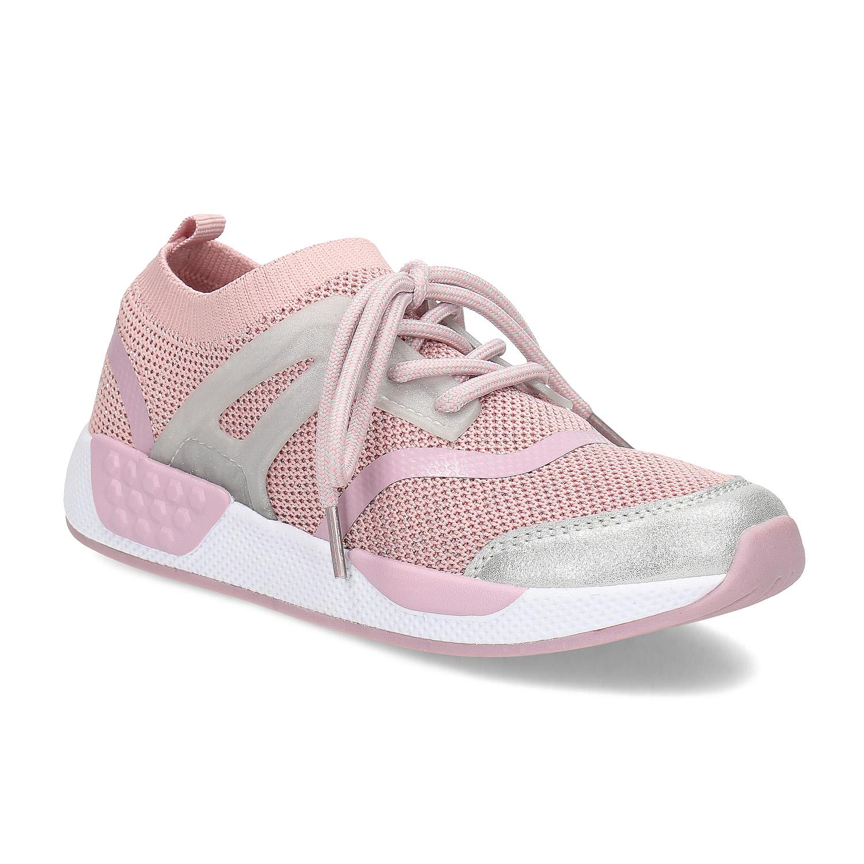 Růžové dětské tenisky v pleteném designu