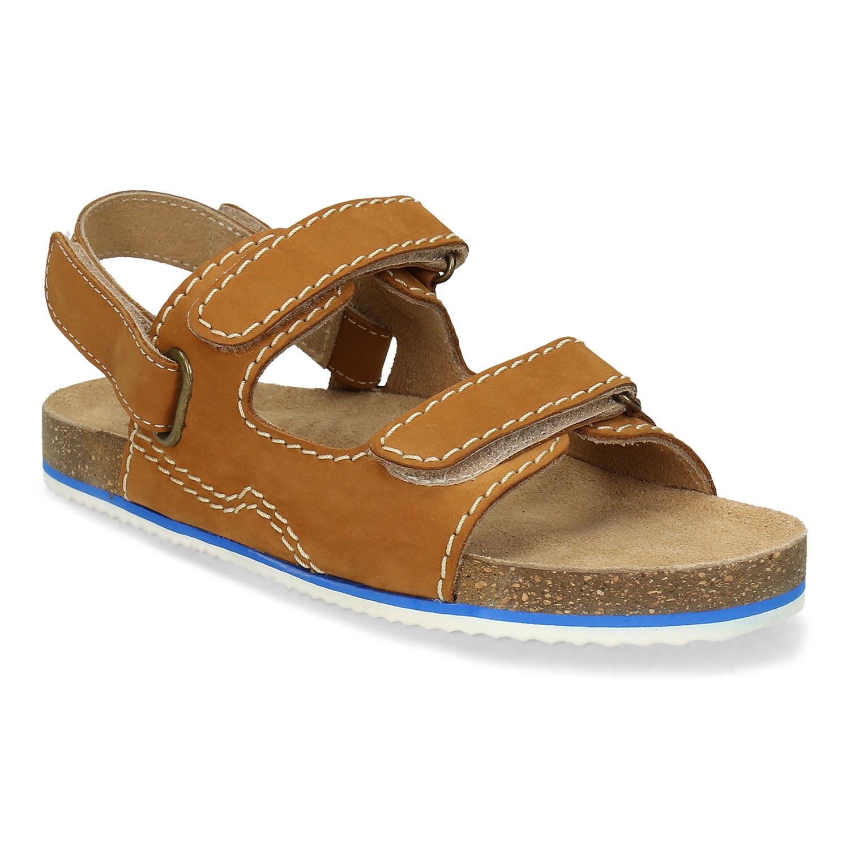 Hnedé kožené sandále detské