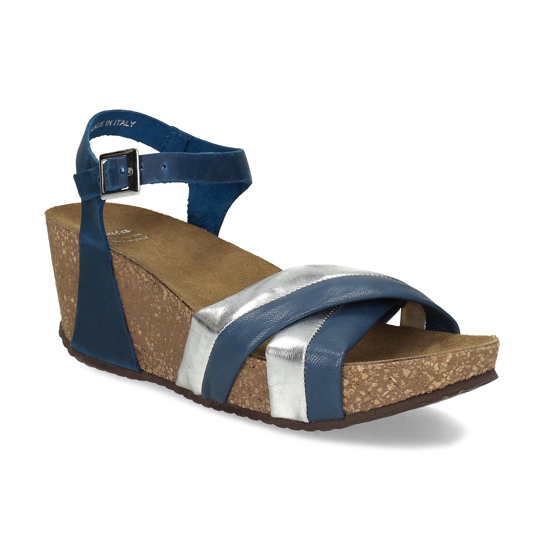 Kožené sandále na platforme modré