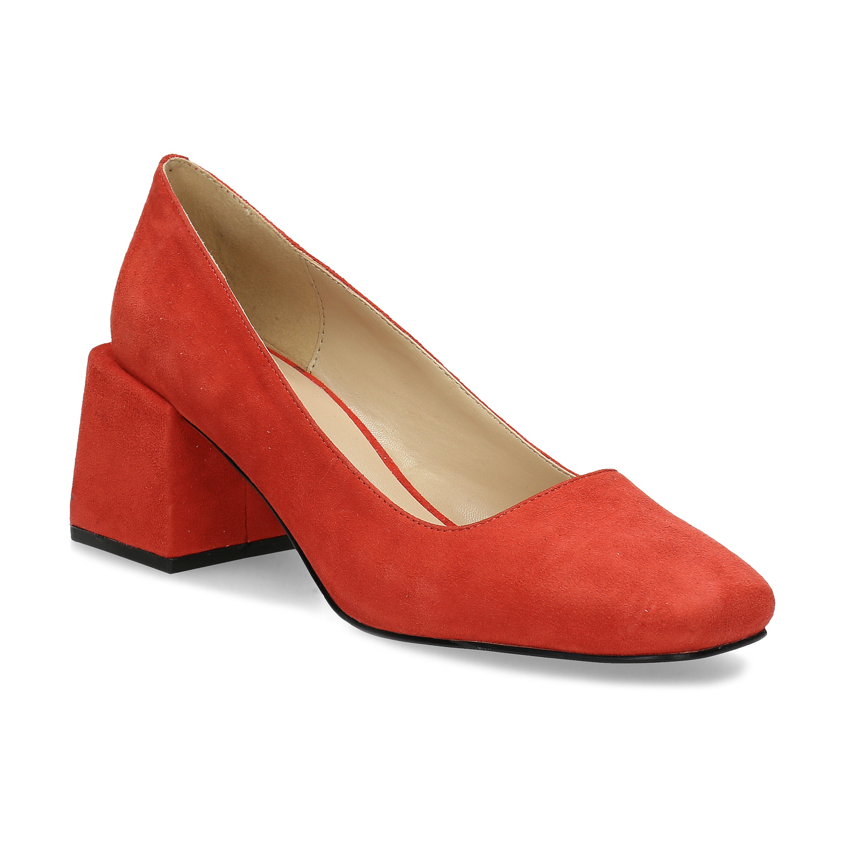 Červené dámske lodičky z brúsenej kože