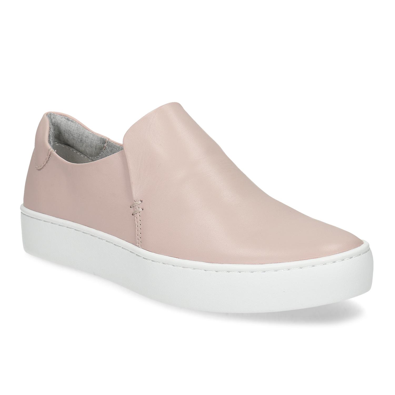 Ružová dámska kožená Slip-on obuv