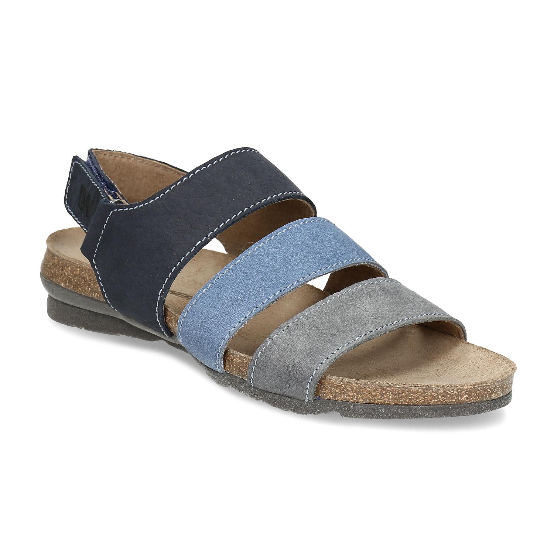 Dámske kožené modré sandále