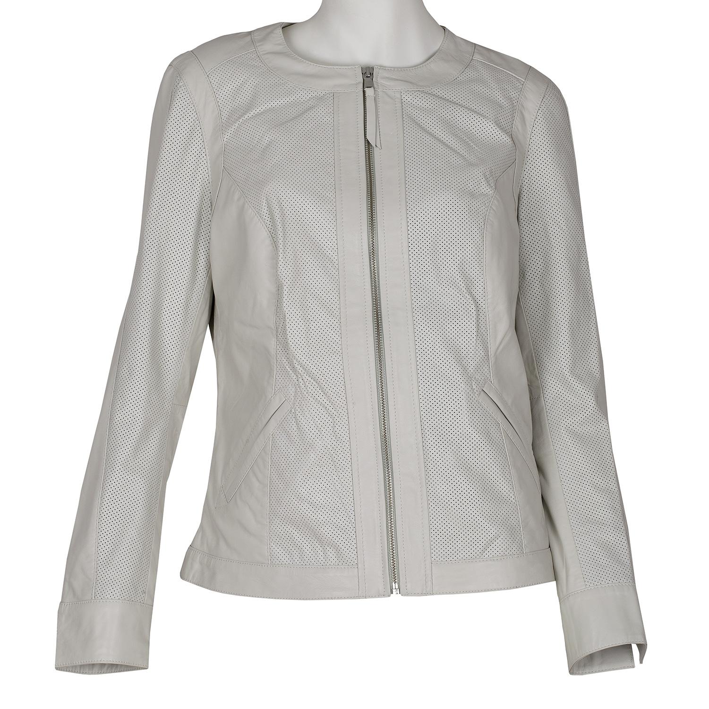 Dámska kožená bunda biela