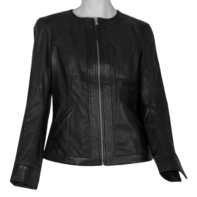 Dámska čierna kožená bunda s perforáciou