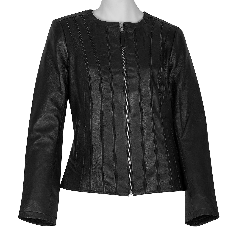 Kožená dámska čierna bunda s prešitím