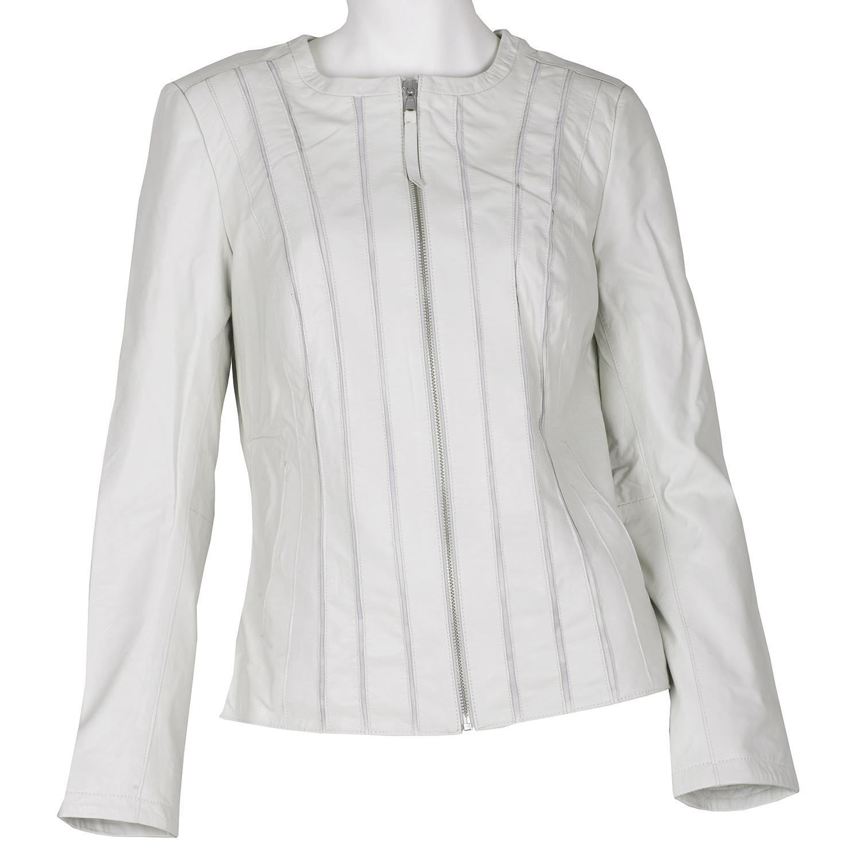 Biela dámska bunda kožená