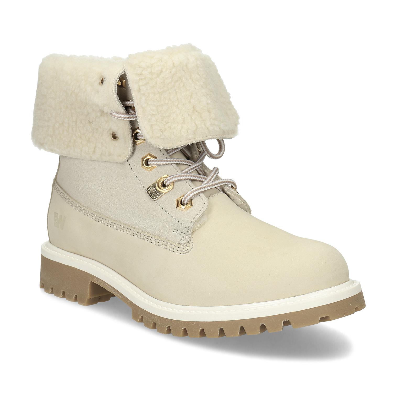 Béžová dámska zimná obuv kožená