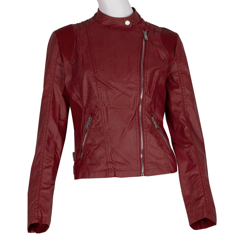 Červená dámska kožená bunda