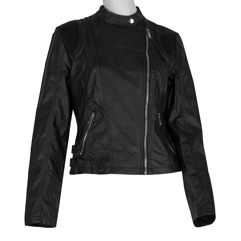 Čierna dámska kožená bunda