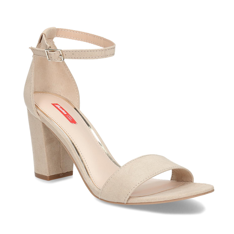 Béžové dámské sandály na stabilním podpatku