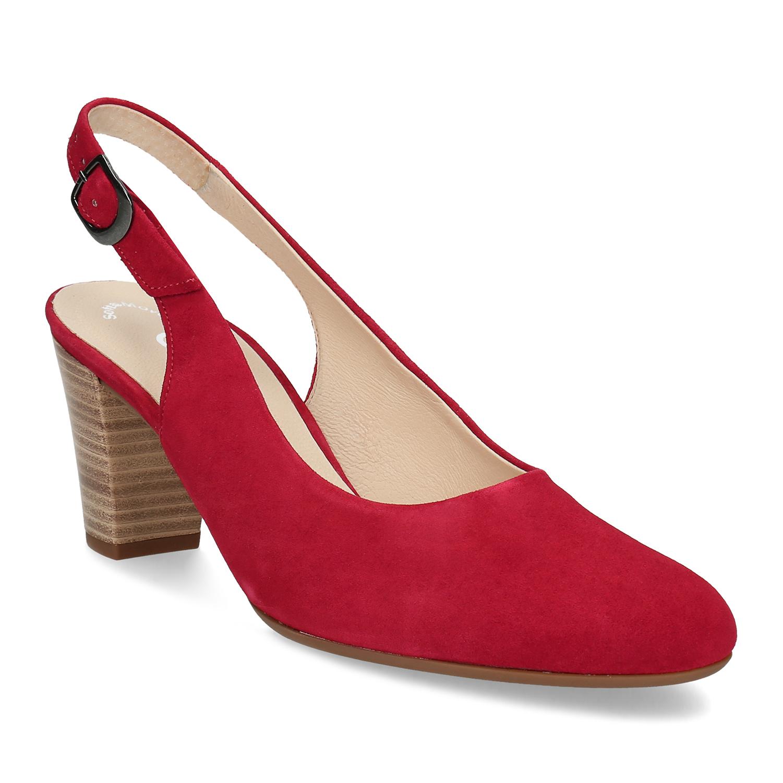 Červené kožené lodičky