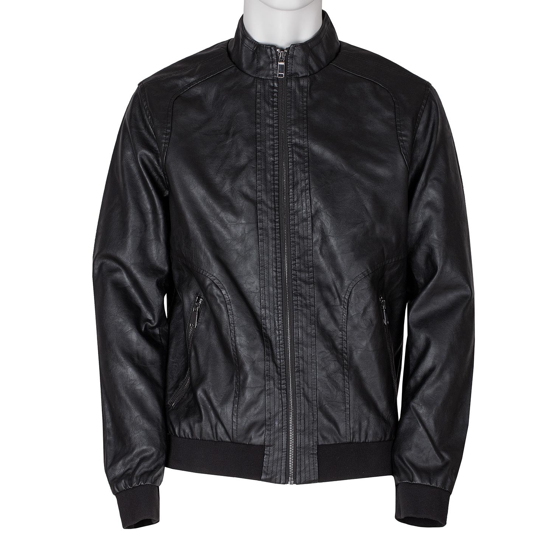 Pánska čierna bunda s úpletom