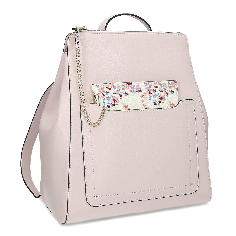 Ružový dámsky batoh so vzorovaným vreckom