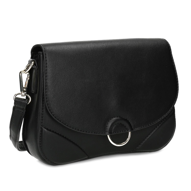 Čierna dámska kabelka s kovovým detailom